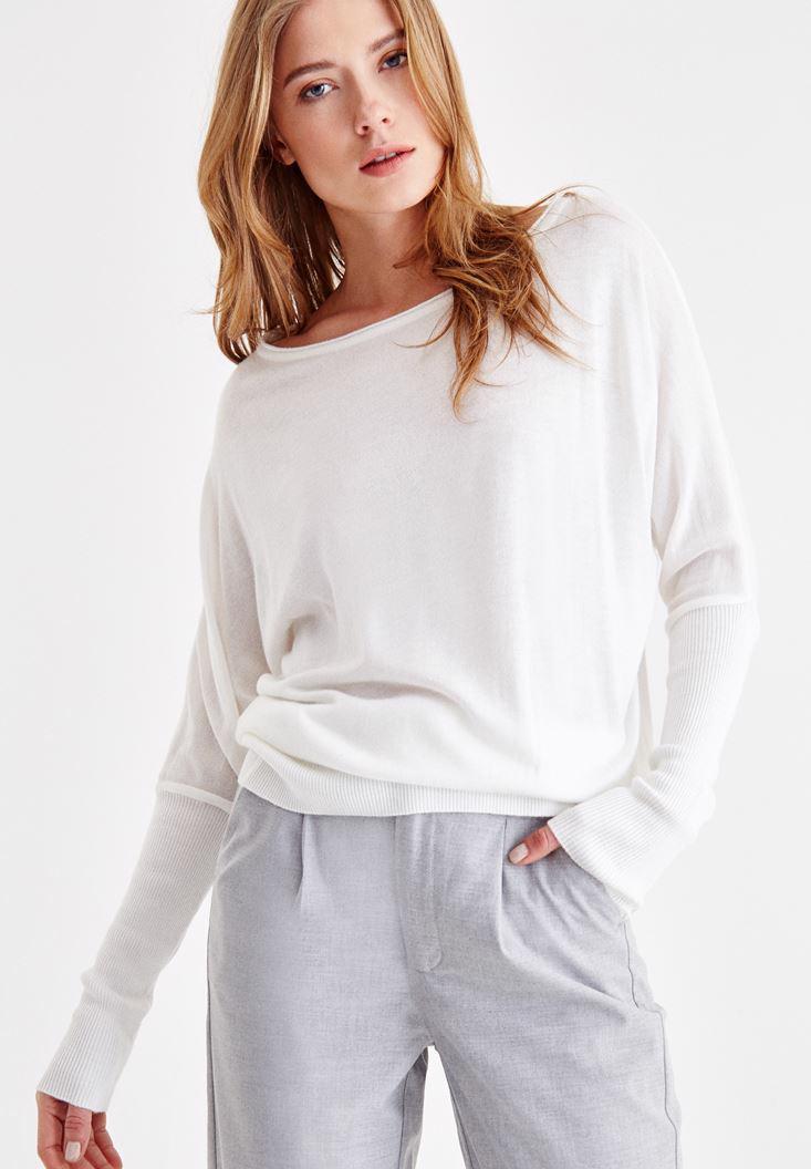 Women Cream Knitwear with Boot Neck Details