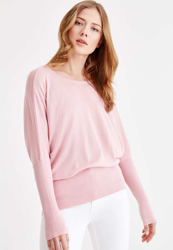 Pink Knitwear with Boot Neck Details