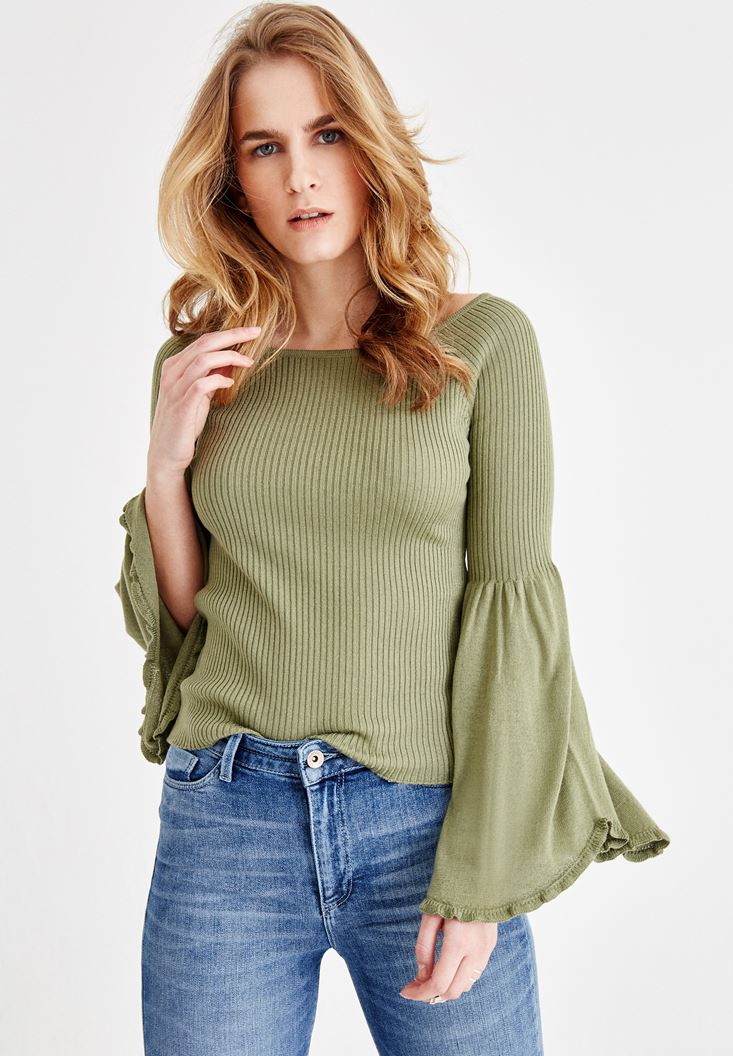 Green Knitted Pullover with Arm Detail