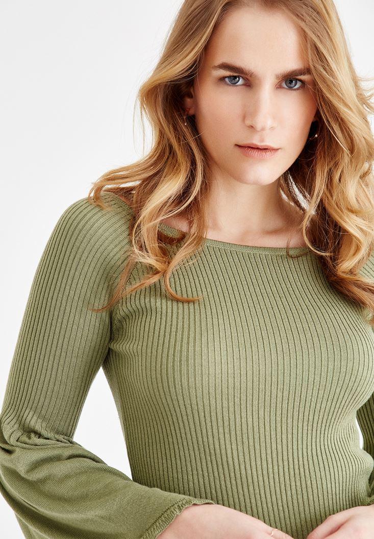 Bayan Yeşil Flare Kollu Triko