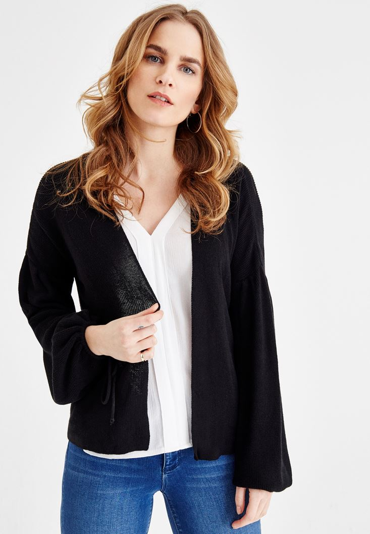 Black Cardigan with Binding Details
