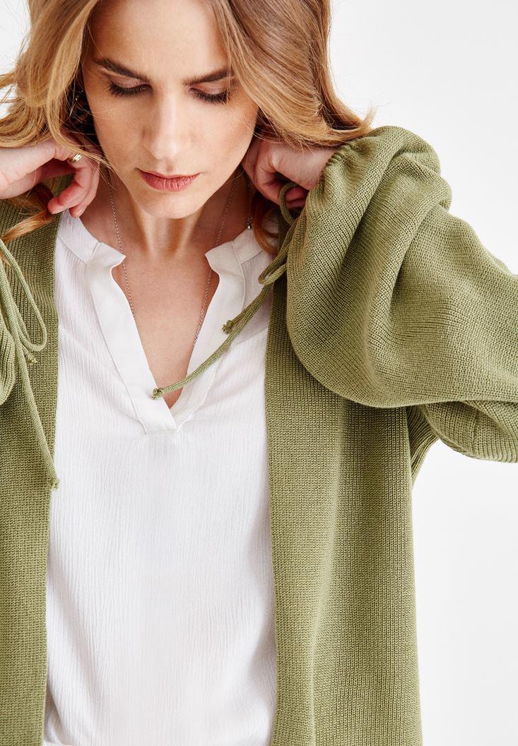 Bayan Yeşil Kolları İp Detaylı Hırka