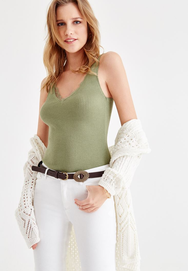 Green V Neck Blouse with Lace Details