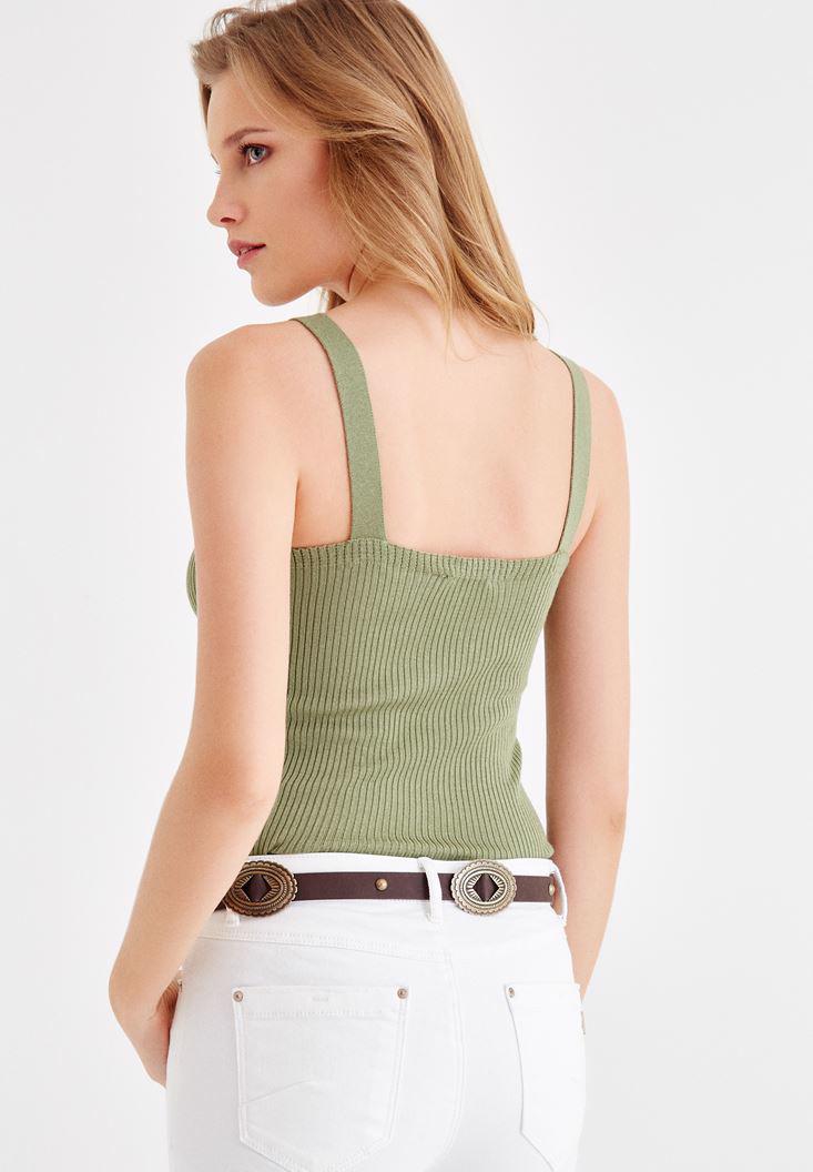 Bayan Yeşil V Yaka Dantel Detaylı Askılı Bluz