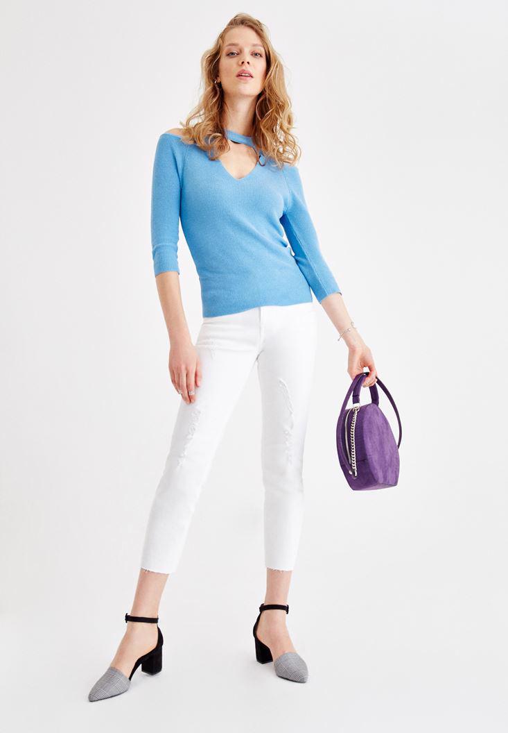 Bayan Mavi Uzun Kollu Yaka Detaylı Triko