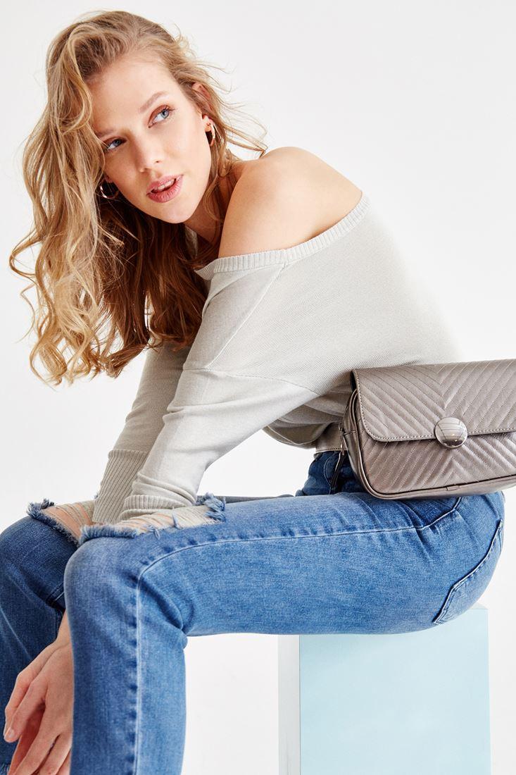 Grey Long Sleeve Off-Shoulder Knitwear