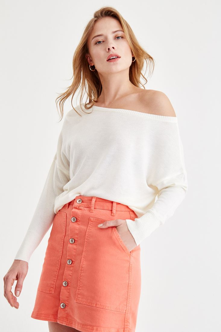 Cream Long Sleeve Off-Shoulder Knitwear