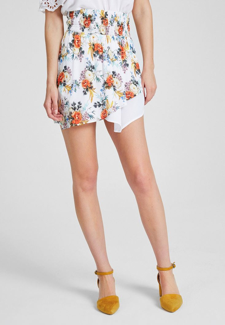 Mixed Asymmetric Skirt with Flower Pattern