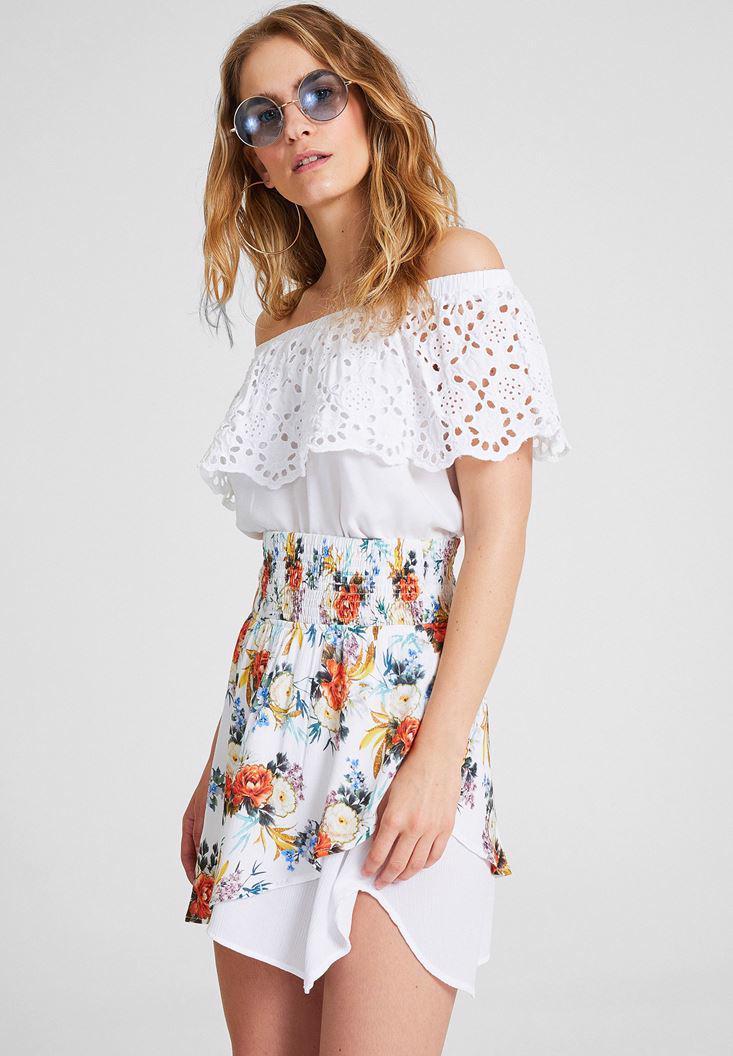 Women Mixed Asymmetric Skirt with Flower Pattern