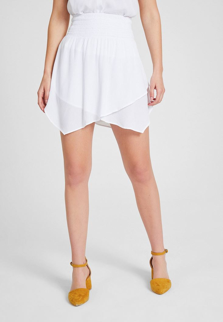 White Asymmetric Skirt with Details