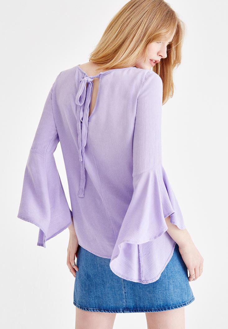 Bayan Mor Kolları Volanlı Sırt Detaylı Bluz