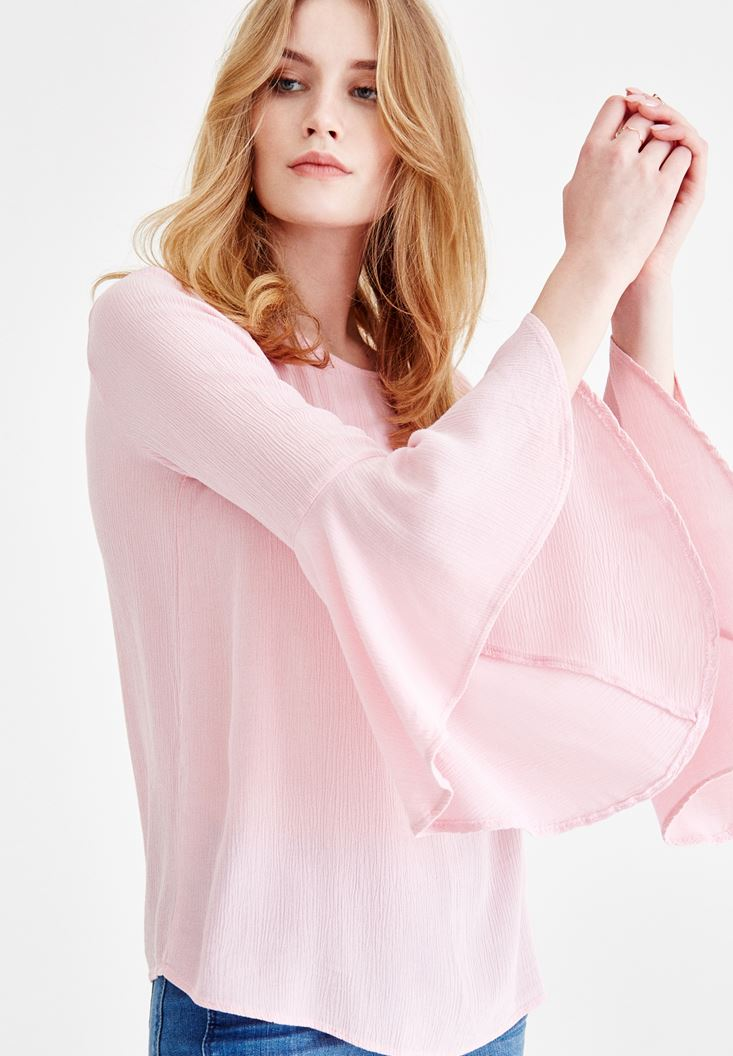 Pink Long Sleeve Blouse with Back Details