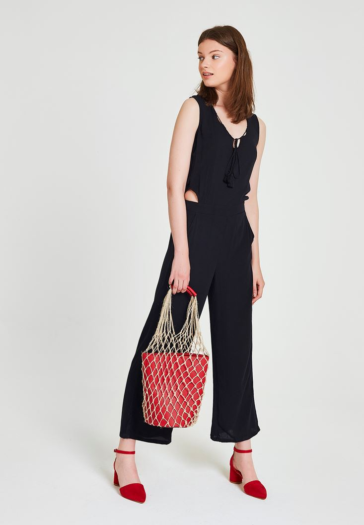 Black Jumpsuit with Back Detailed