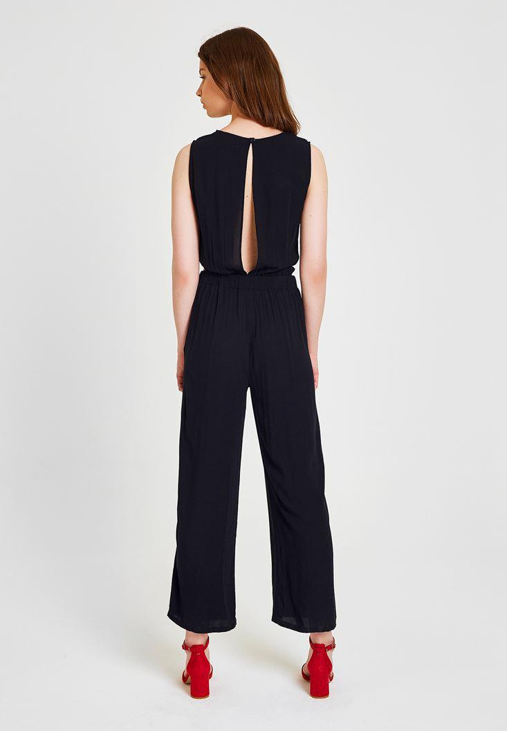 Women Black Jumpsuit with Back Detailed