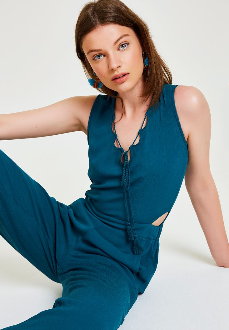 Blue Jumpsuit with Back Detailed