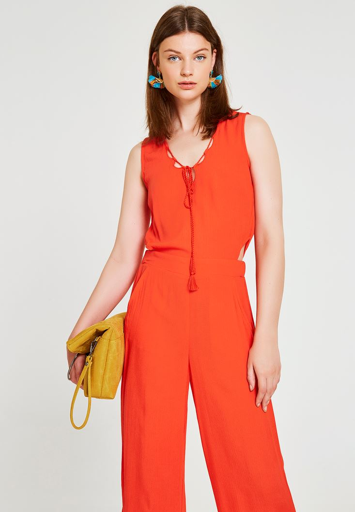 Red Jumpsuit with Back Detailed