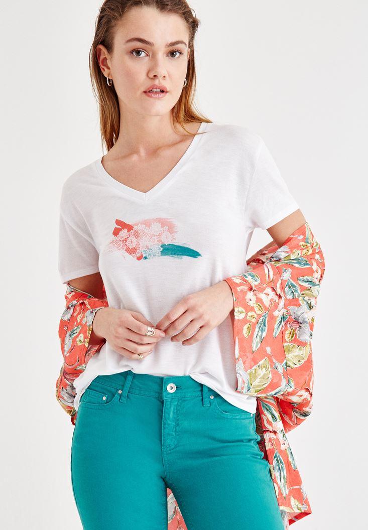 White Flower Printed V Neck T-Shirt