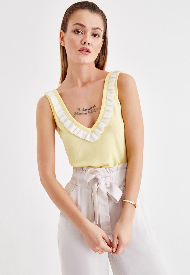 Women Yellow V Neck Blouse with Back Details