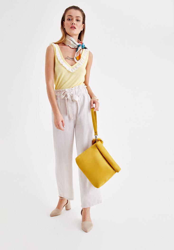 Bayan Sarı Sırt Detaylı V Yaka Askılı Bluz