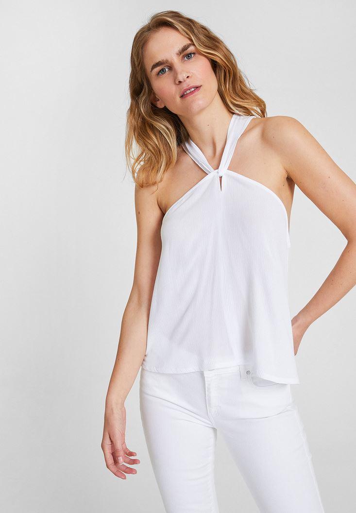 Beyaz Çapraz Sırt Detaylı Bluz