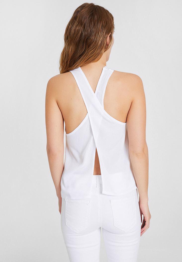 Bayan Beyaz Çapraz Sırt Detaylı Bluz