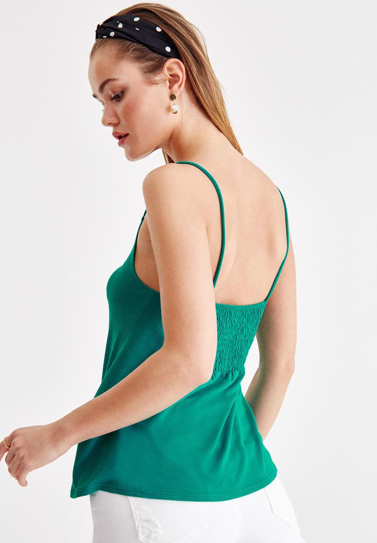 Bayan Yeşil İnce Askılı Önü Büzgü Detaylı Bluz