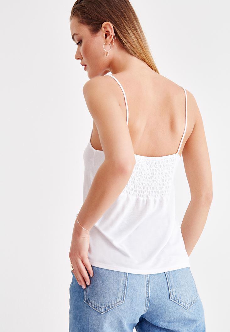 Bayan Beyaz İnce Askılı Önü Büzgü Detaylı Bluz