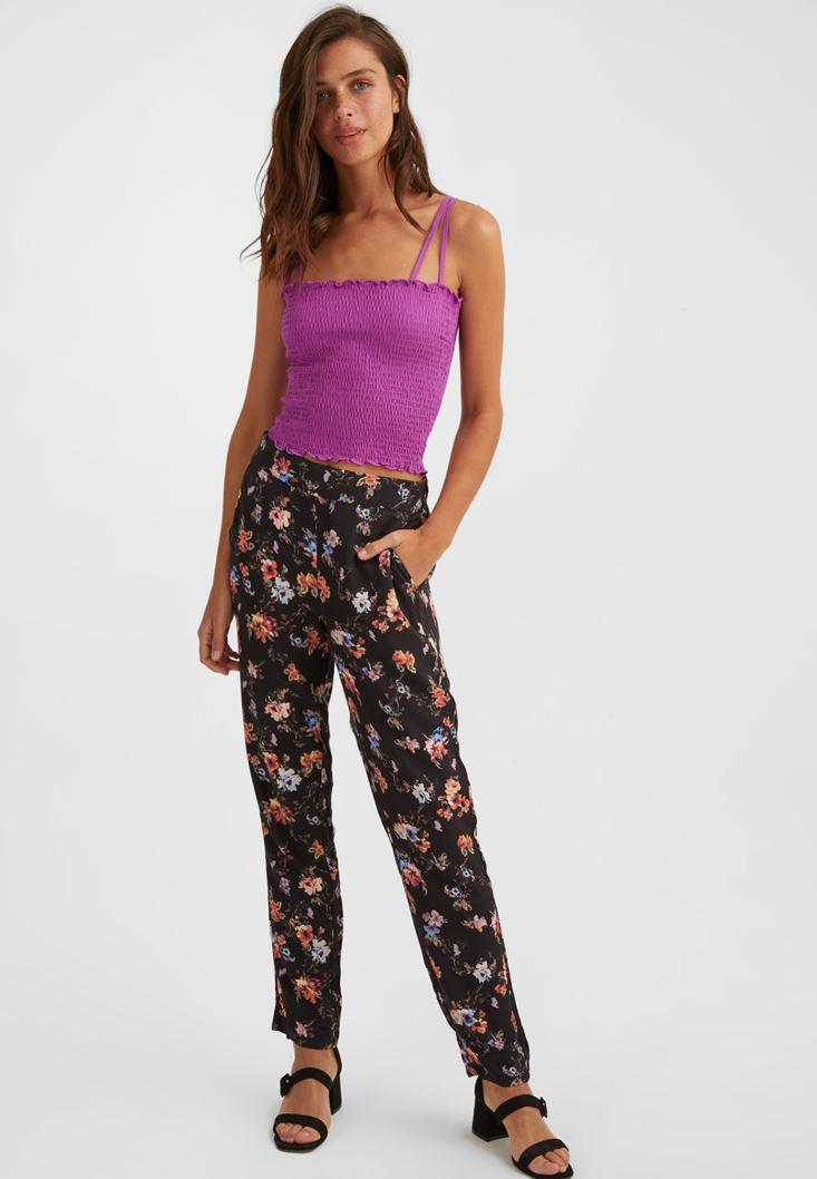 Çiçek Desenli Bol Pantolon