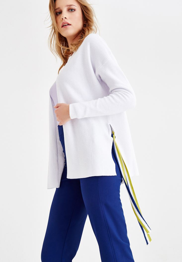 White Long Sleeve Cardigan with Binding Details