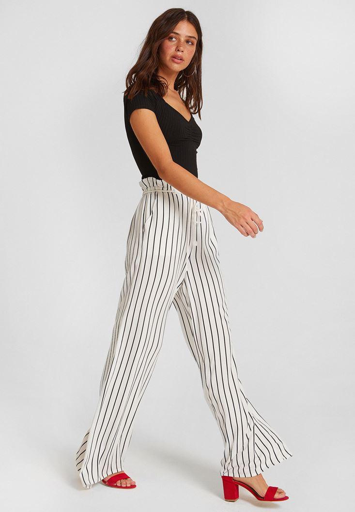 Black Stripe Patterned Pants with Details