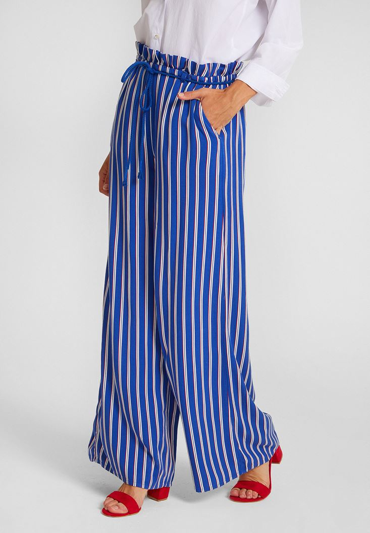 Stripe Patterned Pants with Details