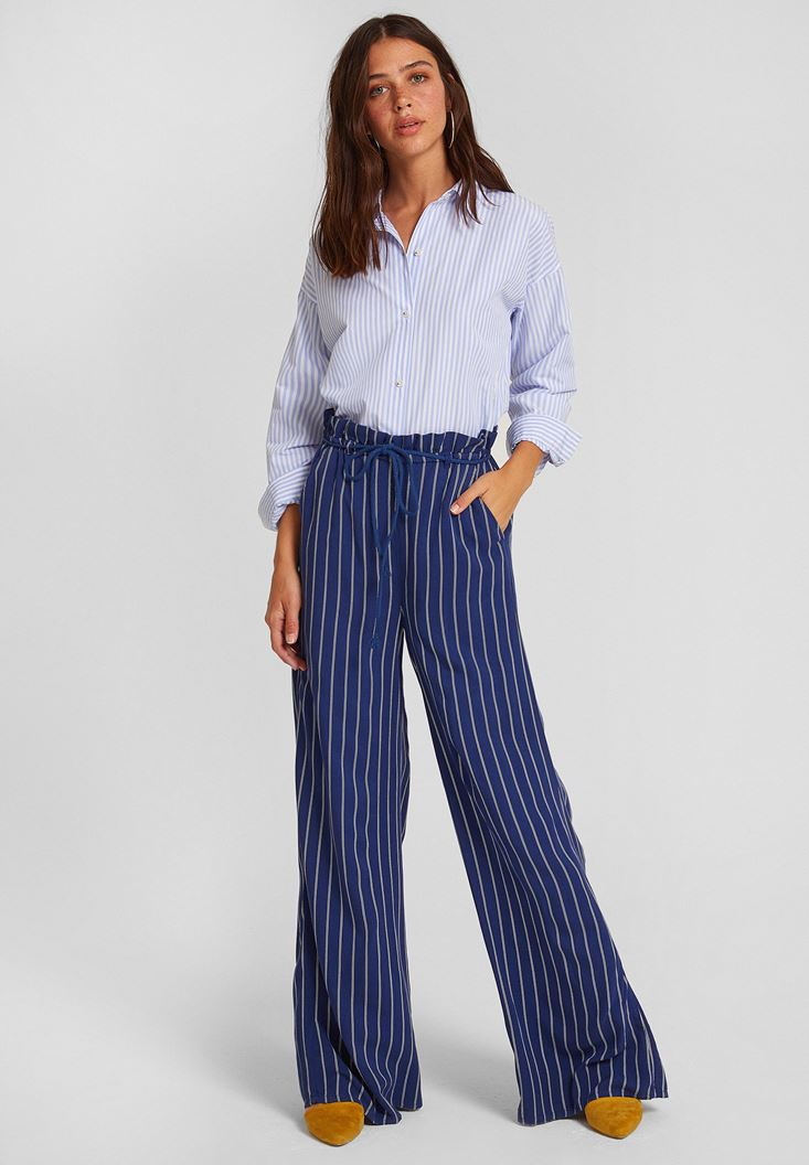 Mixed Stripe Patterned Pants with Details