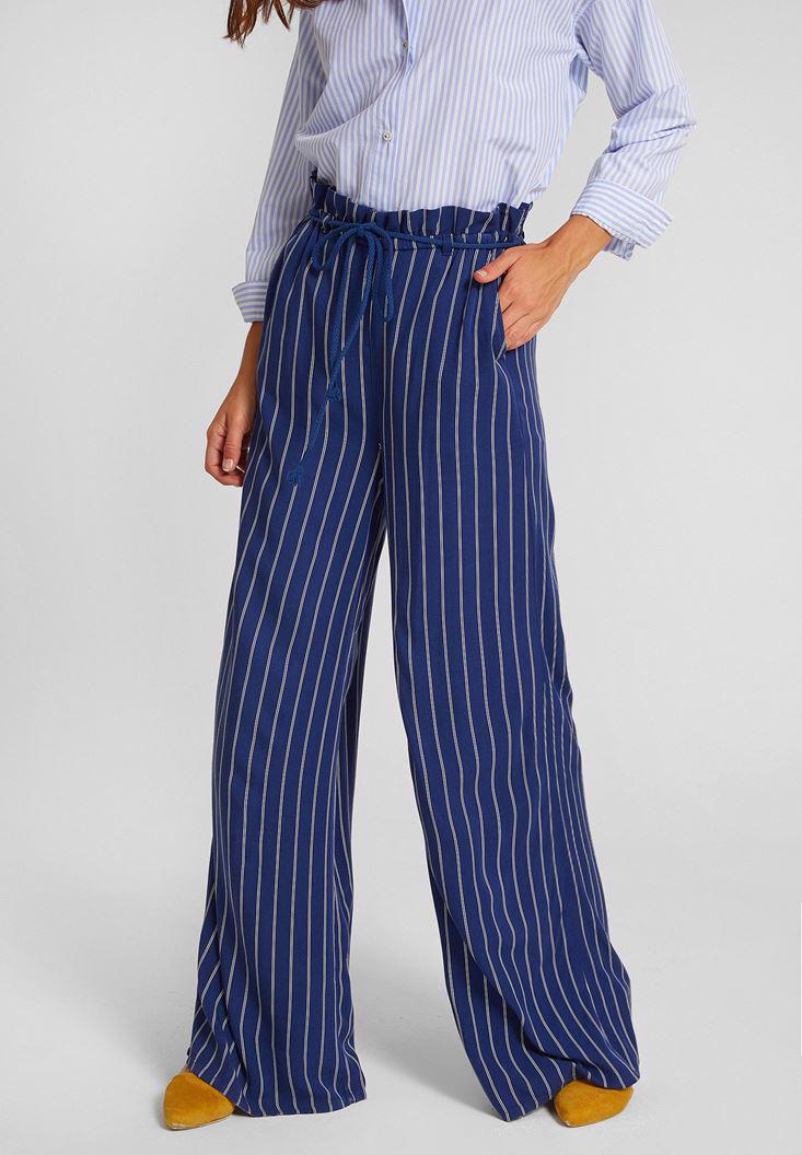 Bayan Çok Renkli Çizgi Desenli Pantolon