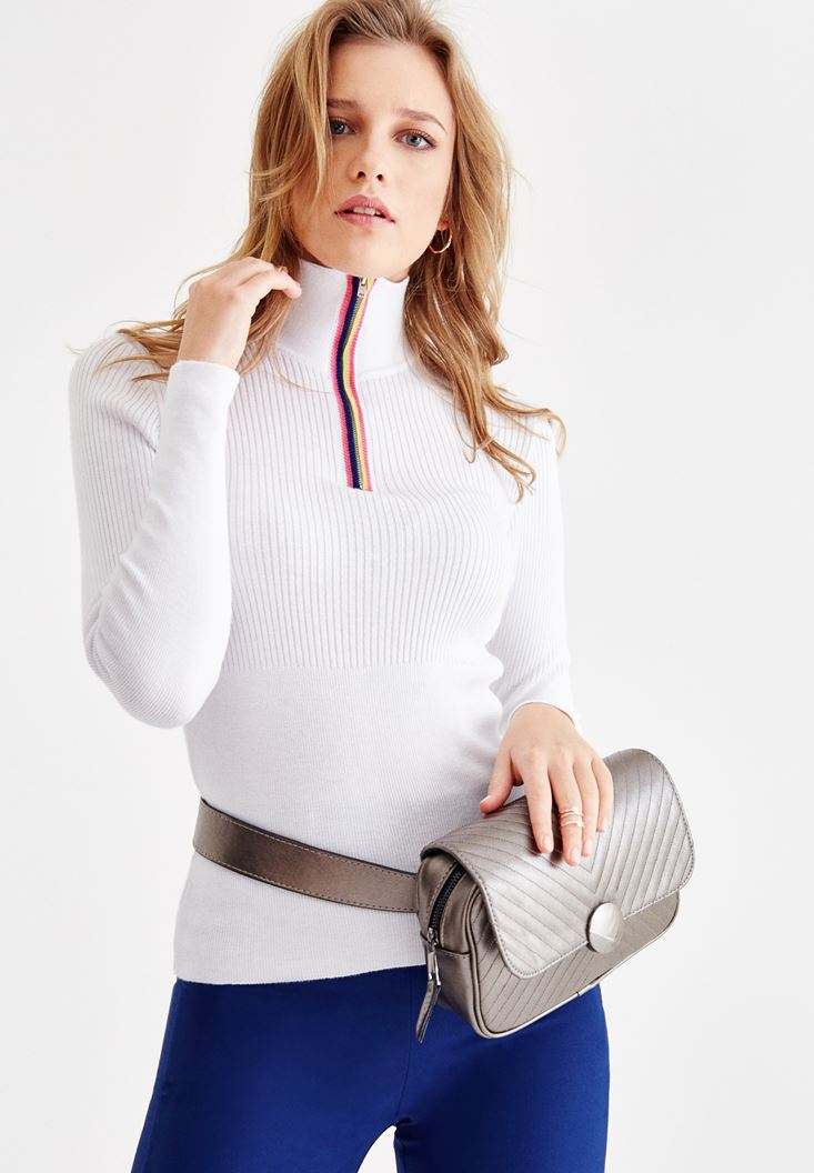 White Knitwear with Zip Details