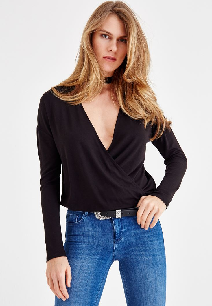 Black Blouse with Choker Details