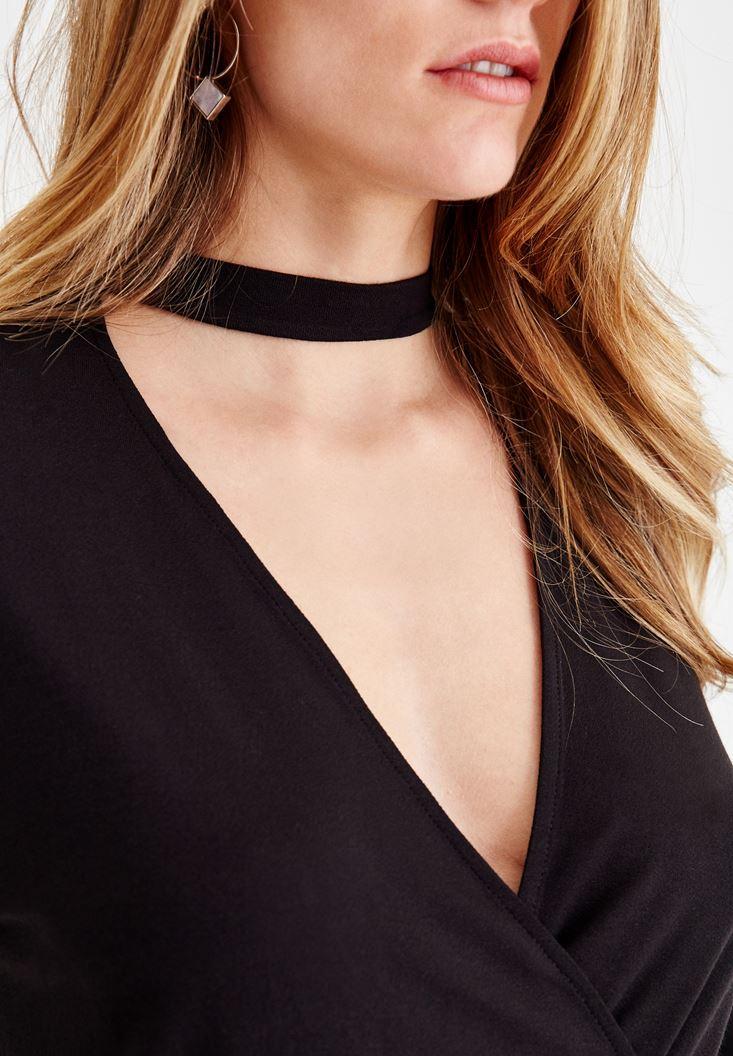 Women Black Blouse with Choker Details