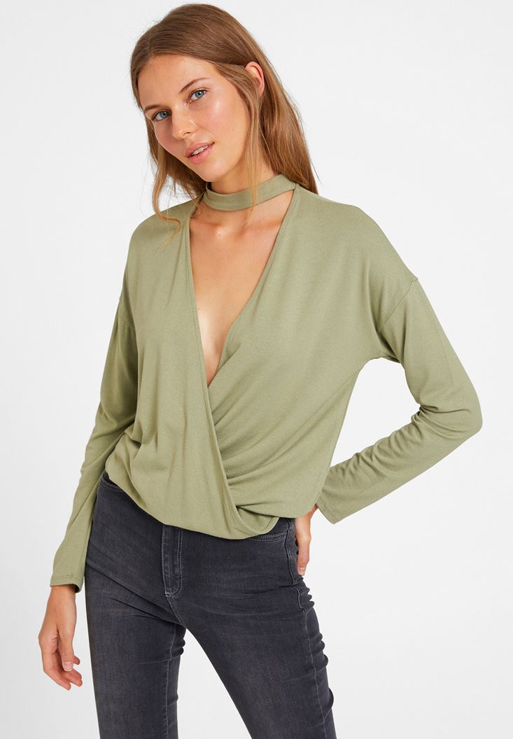 Green Blouse with Choker Details