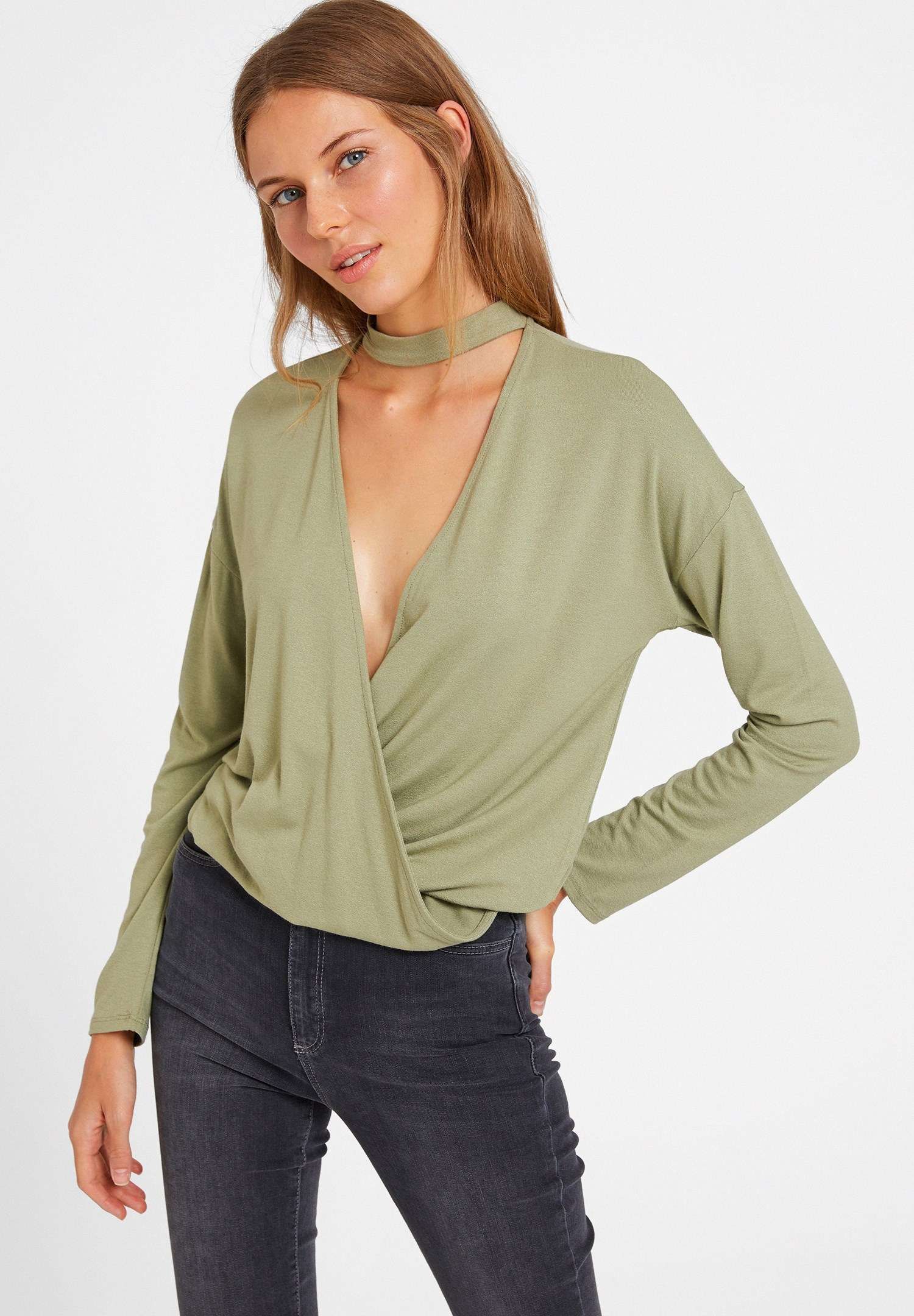 Bayan Yeşil Choker Yakalı Kruvaze Bluz