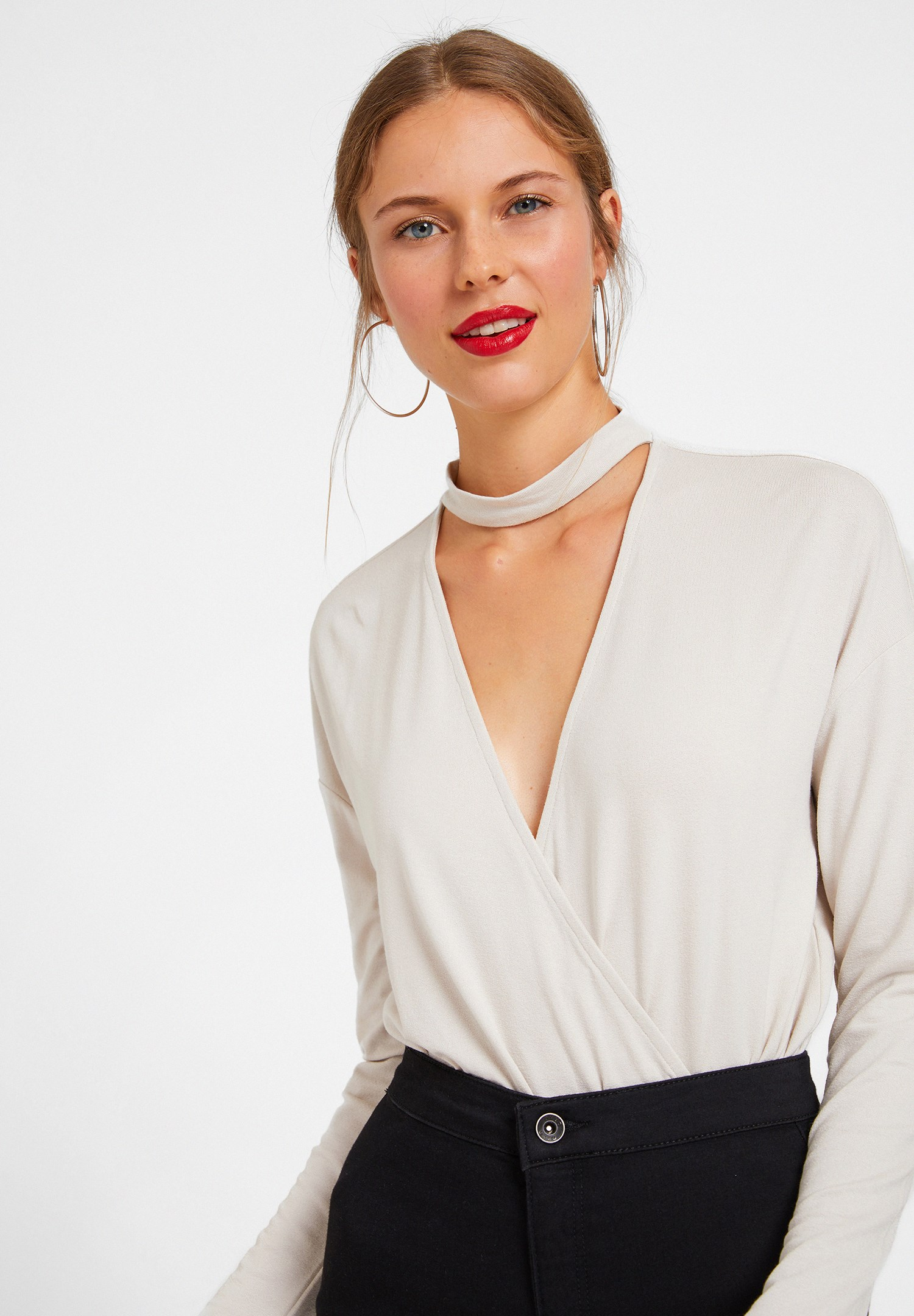 Women Grey Blouse with Choker Details