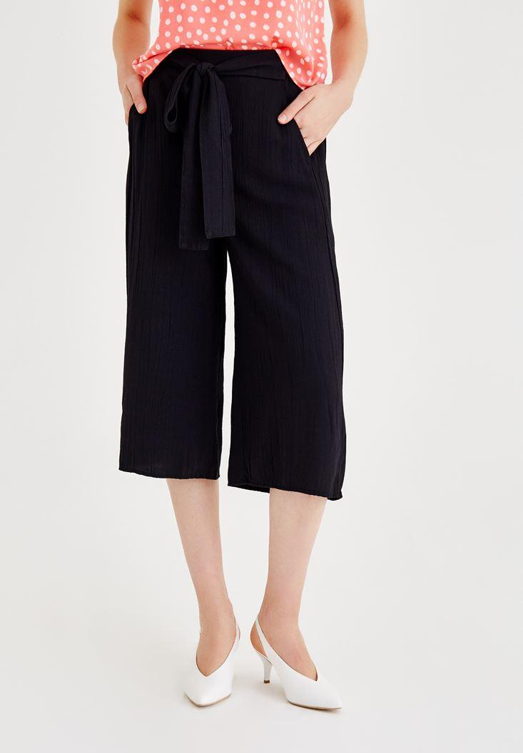 Siyah Beli Bağlamalı Culotte Pantolon