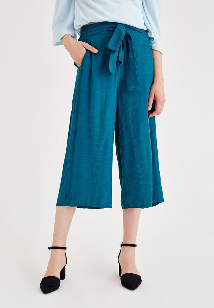 Mavi Beli Bağlamalı Culotte Pantolon