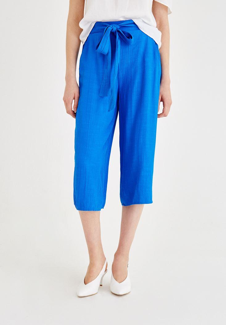 Gri Beli Bağlamalı Culotte Pantolon