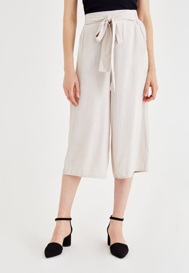 Grey Culotte Pants with Binding Details