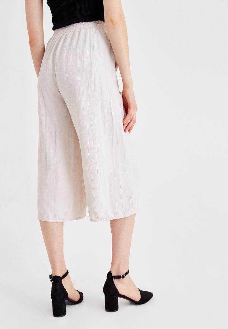 Bayan Gri Beli Bağlamalı Culotte Pantolon