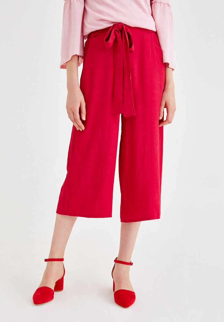 Pink Culotte Pants with Binding Details