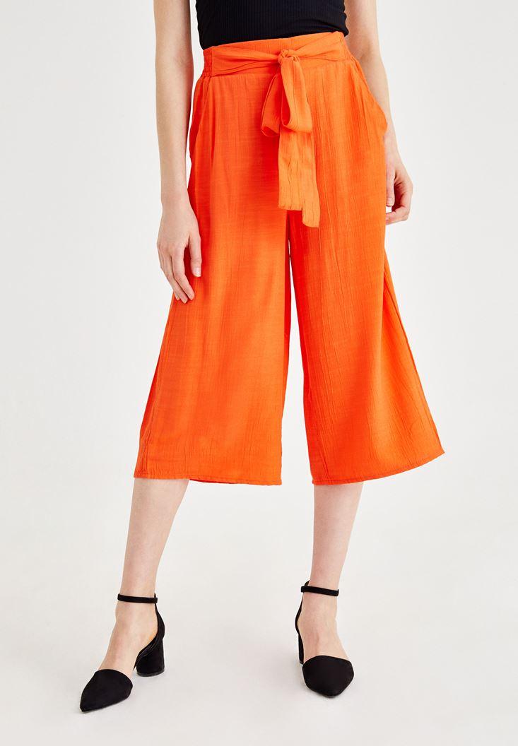 Turuncu Beli Bağlamalı Culotte Pantolon