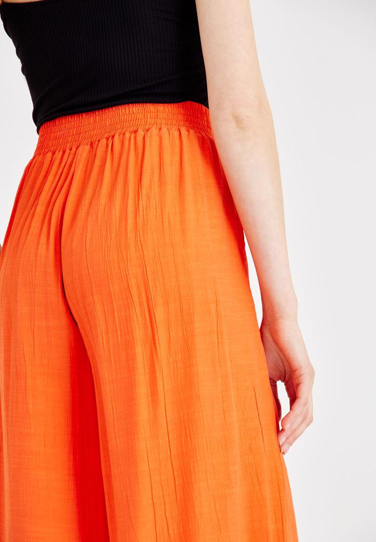 Bayan Kırmızı Beli Bağlamalı Culotte Pantolon