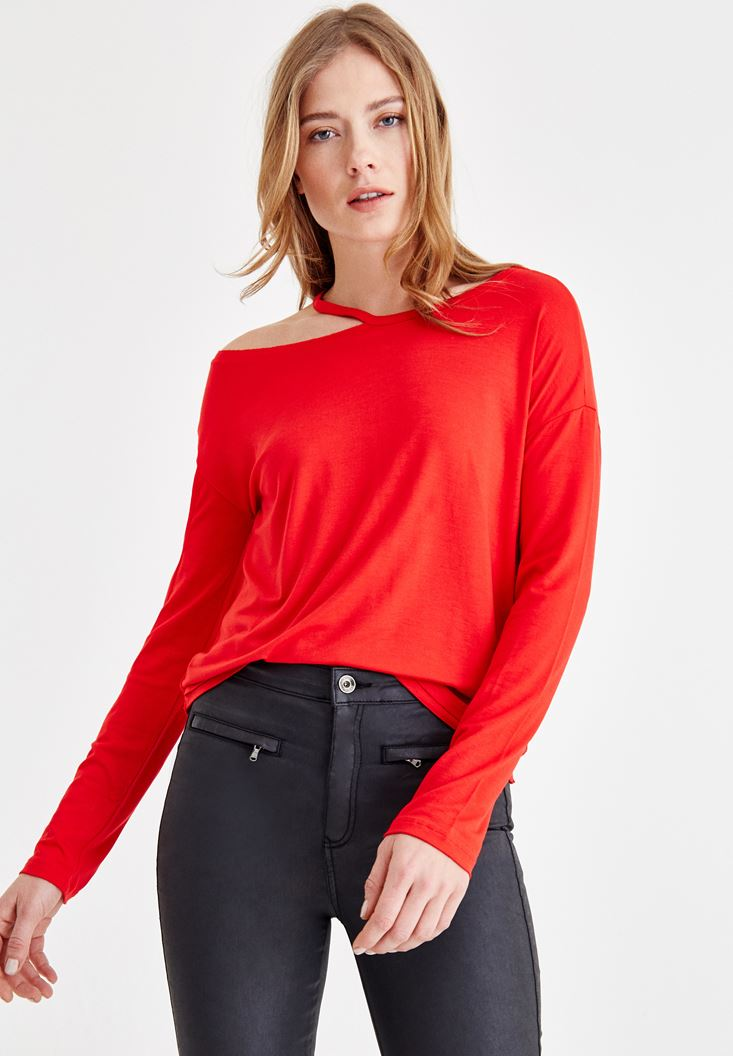 Red Long Sleeve T-shirt with Neck Details