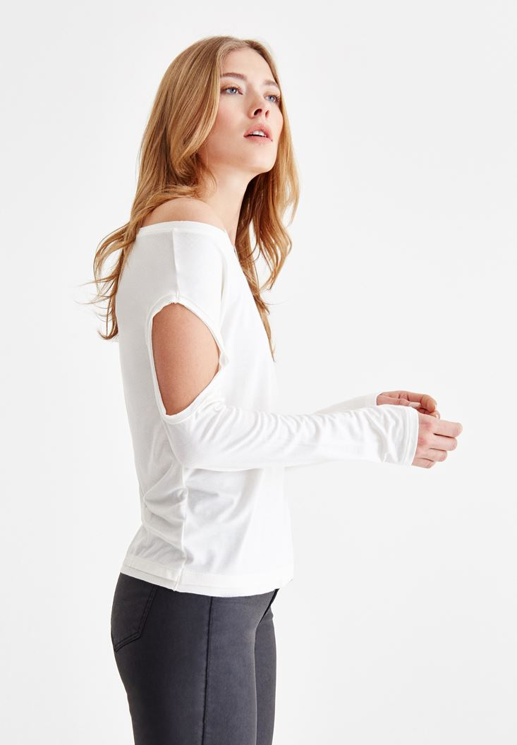 Cream Long Sleeve T-shirt with Neck Details