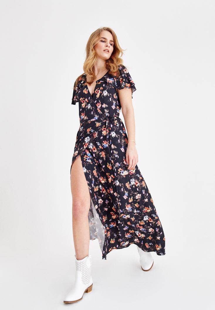 Bayan Çok Renkli Çiçek Desenli Yırtmaç Detaylı Elbise